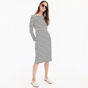 J. Crew Black White Striped Long Sleeve Dress